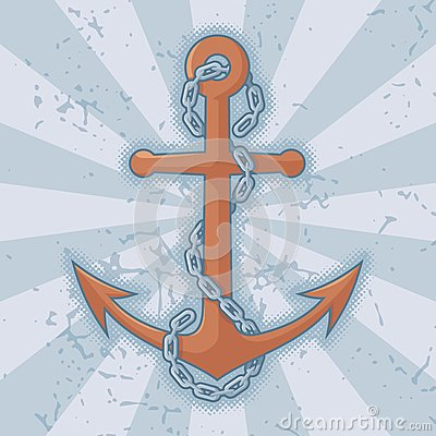 Anchor with chain on grunge