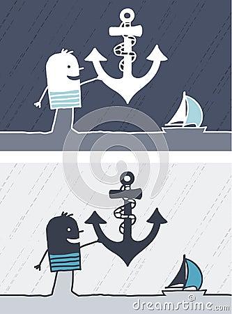 Anchor colored cartoon