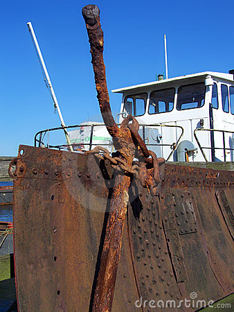 Anchor in front of a boat