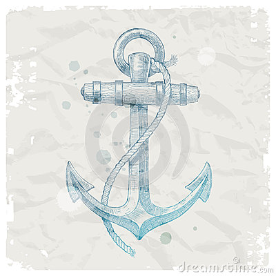 Anchor on grunge paper background