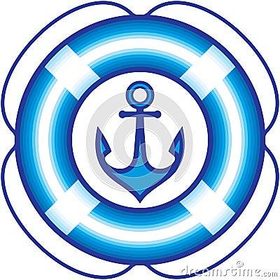 Anchor and Lifebuoy – Sailing items illustration