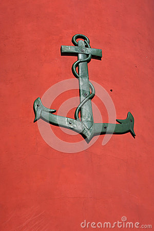 Anchor on red background