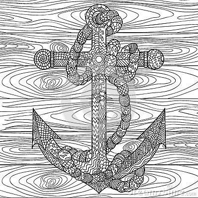 Anchor and rope in the zentangle style stock vector for Coloring pages of anchors