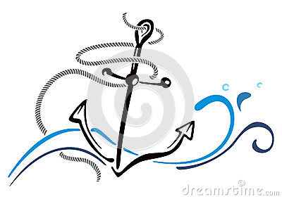 Anchor in sea