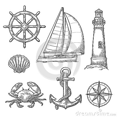 Free Anchor, Wheel, Sailing Ship, Compass Rose, Shell, Crab, Lighthouse Engraving Stock Photos - 88005073