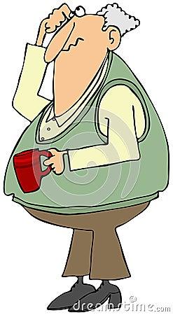 Ancião confundido com um copo de café
