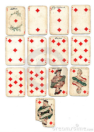 Ancien playing cards diamonds