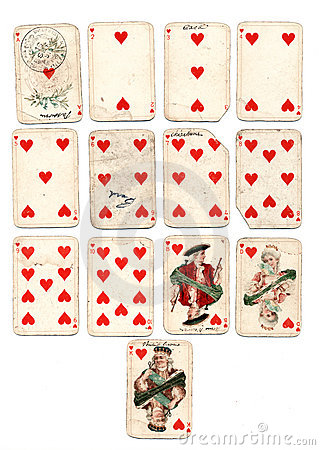 ancien playing cards hearts