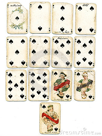 Ancien playing cards spades