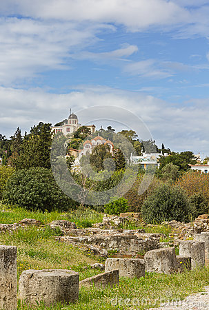 Ancient agora ruins and Observatory of Athens