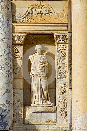 Statue in Ancient antique city of Efes, Ephesus library ruin in Turkey Stock Photo