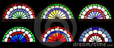 Ancient arabic designed colored glass arches