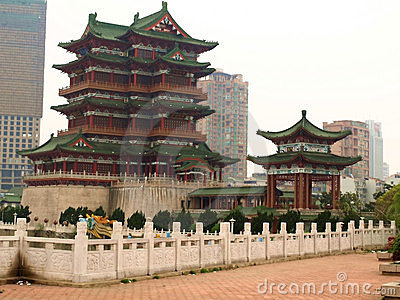 Ancient architecture and modern city
