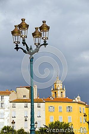 Ancient architecture  street lamp Ajaccio, Corsica