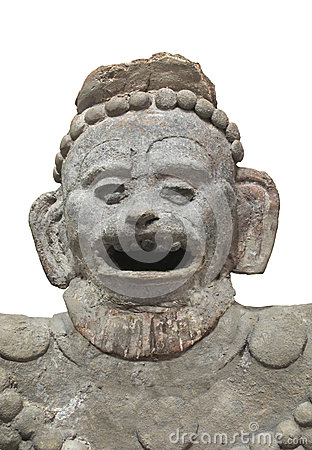 Ancient Aztec statue bust isolated.