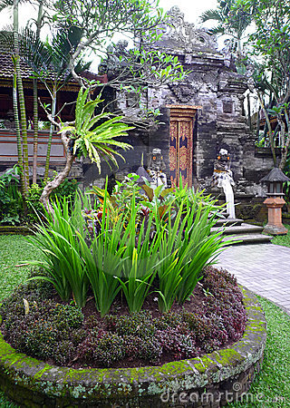 Ancient balinese palace and landscaping