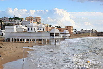Ancient baths at the beach of Cadiz, Spain
