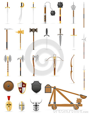 Free Ancient Battle Weapons Set Icons Stock Vector Illustration Royalty Free Stock Image - 84998856