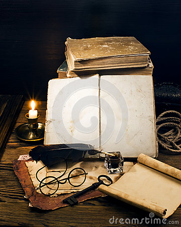 Free Ancient Books On The Old Paper Background Royalty Free Stock Photography - 44095417