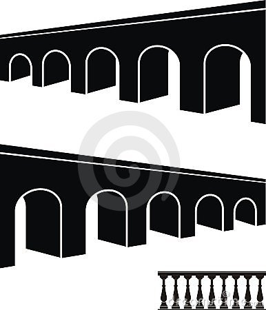 Ancient bridge black silhouettes and balustrade