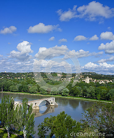 Ancient Bridge, Rhone River, Avignon France