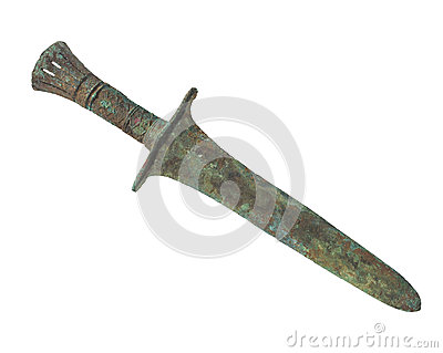 Ancient bronze age dagger isolated.