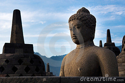 Ancient Buddha Statue and Stupas