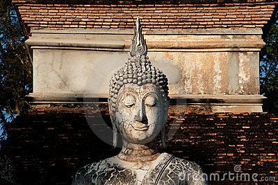 Ancient Buddha in Sukhothai temple .