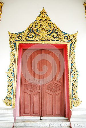 Ancient Buddha Temple Door