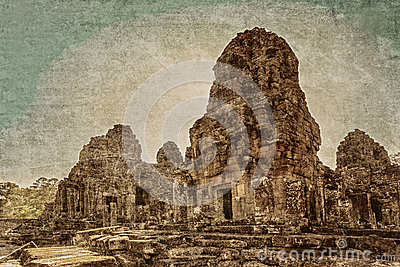 Ancient buddhist khmer temple in retro style