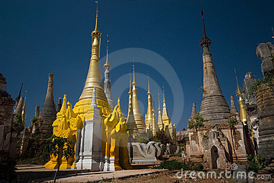 Ancient Buddhist temple near Inle lake in Myanmar.