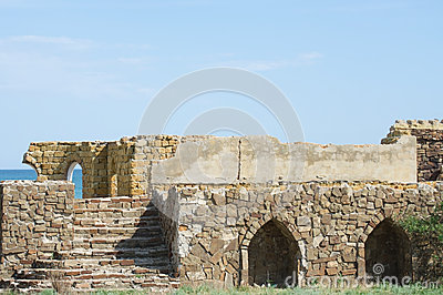 Ancient building of shell limestone