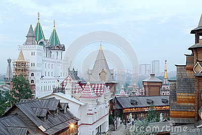 Ancient buildings in entertainment center Kremlin Editorial Stock Image