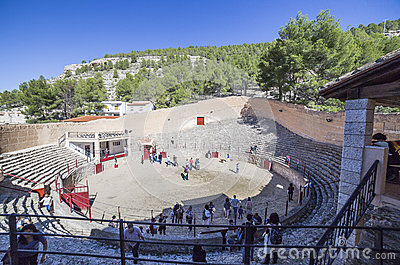 Ancient bullring, this square is constructed in the shape of shi Editorial Stock Photo