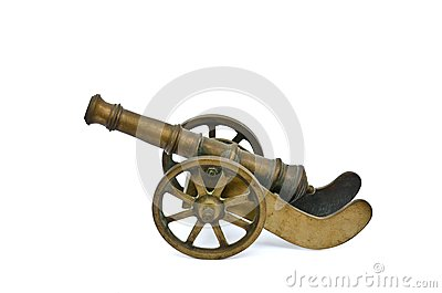 Ancient cannon on wheels  on white