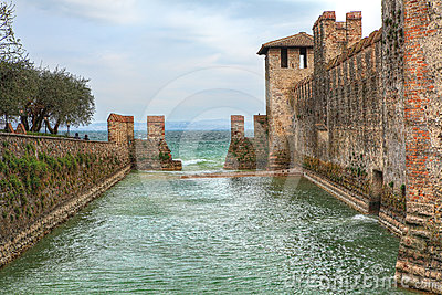 Ancient castle on Lake Garda. Sirmione, Italy.