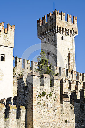 Ancient castle in Sirmione, on Garda Lake, Italy