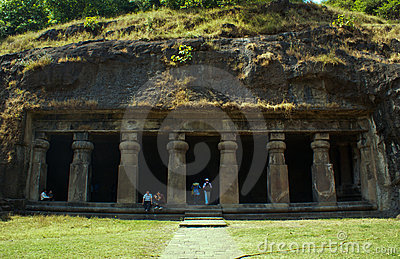 An ancient cave in Elephanta Island. Editorial Image