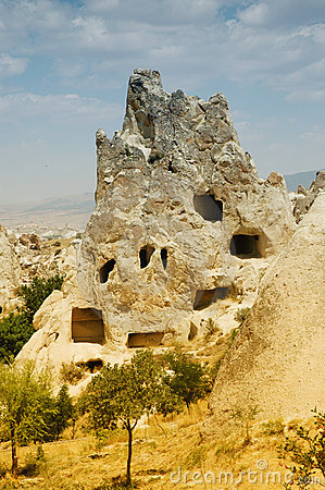 Ancient cave-town near Goreme, Cappadocia, Turkey