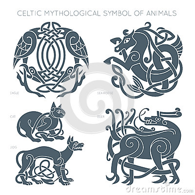 Ancient celtic mythological symbol of animals. Vector illustrati Vector Illustration