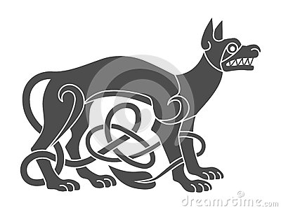 Ancient celtic mythological symbol of wolf, dog. Vector knot Vector Illustration