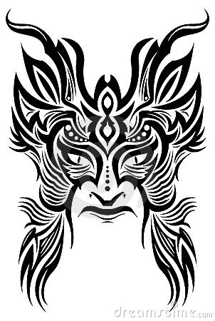 Ancient ceremony mask - tribal - tattoo - vector