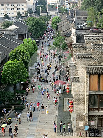Ancient Chinese Commercial Pedestrian Street (Viewed from Above) Editorial Photo