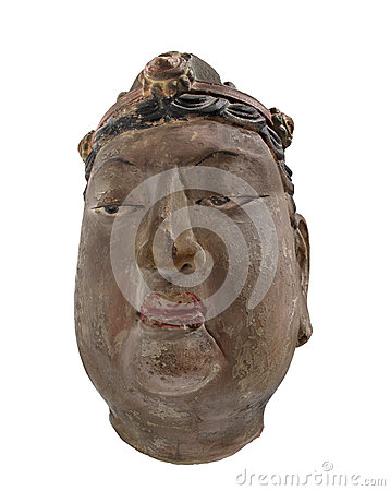 Ancient Chinese head bust isolated.