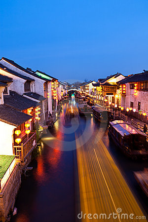 Free Ancient Chinese Town At Night Stock Photos - 21225043