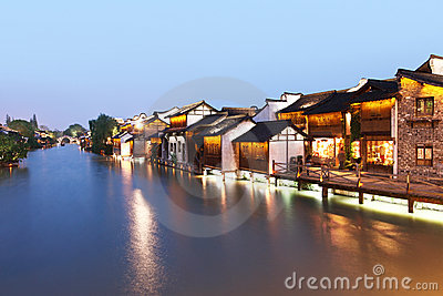 The ancient Chinese village in dusk