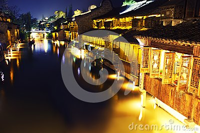 Ancient Chinese village at night