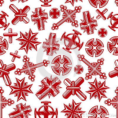 Free Ancient Christian Crucifixes Red Seamless Pattern Stock Image - 70049981