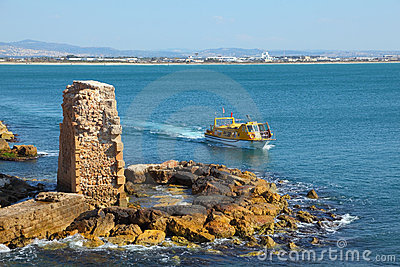 The ancient city of Akko, a tourist boat