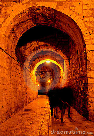 Ancient city of Jerusalem at night